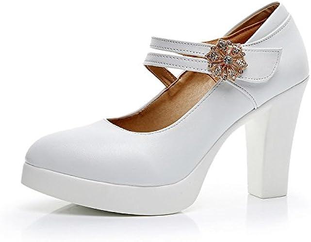 Jqdyl Talons hautsPrintemps Cheongsam Talon Haut Talon épais Plate-Forme imperméable Grande Taille Chaussures de modèle Femelle