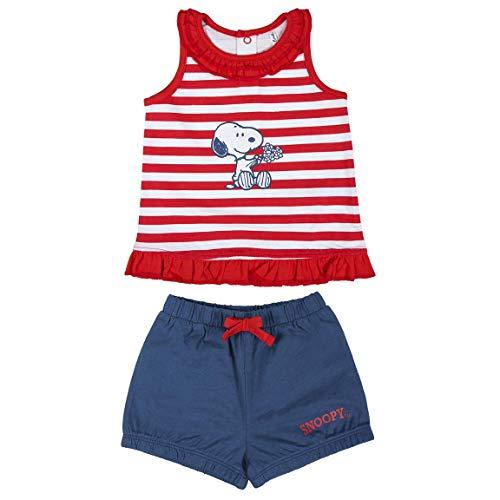 Cerdá Conjunto de Bebe para Verano de Snoopy - Camiseta + Pantalon de Algodon Juego Cortos, Rojo, 3 meses Unisex bebé