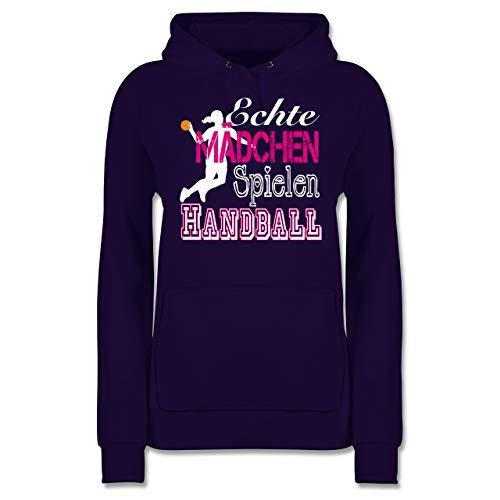 Handball - Echte Mädchen Spielen Handball weiß - XXL - Lila - Handball Hoodie echte mädchen - JH001F - Damen Hoodie und Kapuzenpullover für Frauen
