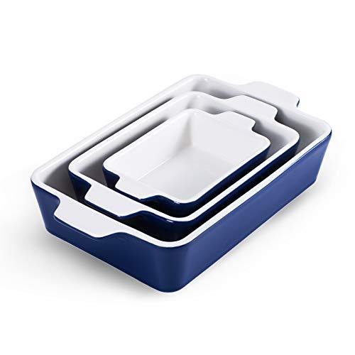 Bakeware Set,Ceramic Baking Dish Set of 3 piece, Porcelain Baking Pans Rectangular Casserole Pan for Cooking Cake Dinner Kitchen Wrapping Upgrade Baking Pans, Navy SIDUCAL