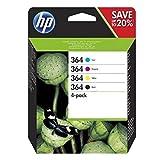 HP E5Y84AE 364 - Juego de 4 cartuchos de tinta, color negro, cian magenta y amarillo