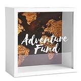 Caja de dinero de aventural | Ahorro de dinero inspirador con marco de madera blanco | Adecuado para monedas, billetes, cheques | M&W (mapa del mundo)