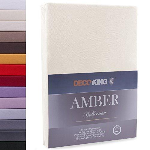"""#2 DecoKing Jersey Spannbettlaken, Spannbetttuch, Bettlaken, """"Amber Collection"""", 80x200 cm - 90x200 cm, Beige"""