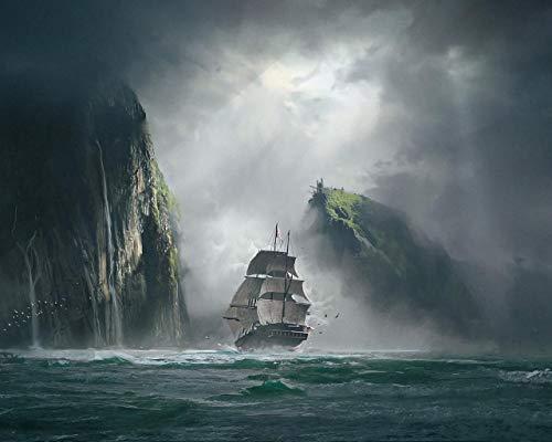 Kpoiuy Pintar por NúMeros DIY Fondos De Pantalla Barco Mar Rocas Niebla Arte DecoracióN De La Boda De La Lona Imagen del Arte Regalo 40 * 50CM