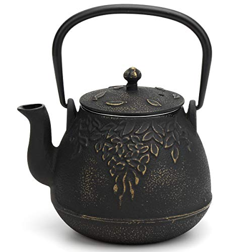 Tea Kettle, TOPTIER Japanese Cast Iron Tea Pot for Stove Top, Cast Iron Teapot Humidifier for Wood Stove, Leaf Design Tea Kettle Coated with Enameled Interior for 32 Ounce (950 ml), Black