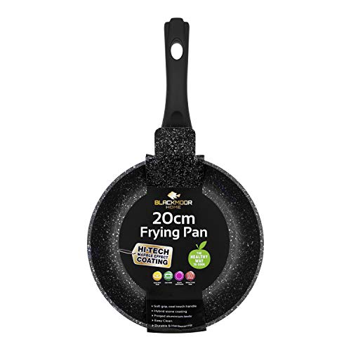 Blackmoor Frying Pans | 2 Colours | Non-Stick, Anti-Scratch Pans | Cool Touch Handles | Suitable for Induction, Electric and Gas Hobs | 20/24/28cm (Black, 20cm)