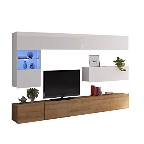 Moderne Wohnwand Calabrini IV, Anbauwand, Mediawand, TV Lowboard, Hängevitrine, Wandregal, Wohnzimmerschrank, Fernsehschrank (ohne Beleuchtung, Eiche Gold/Weiß + Weiß Hochglanz)