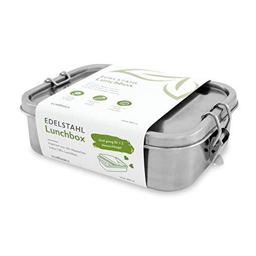 ecoBasics® Edelstahl Brotdose | 800 ml Inhalt | Inkl. Trennwand & Ersatzdichtung | Auslaufgeschützt & Plastikfrei | Formschönes Design mit mattierter Oberfläche | Ideal z.B. für Pausenbrote
