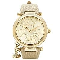 [ヴィヴィアンウエストウッド]時計 レディース オーブ 32mm チャーム付き クォーツ 腕時計 ウォッチ ORB レザーベルト VV006GDCM クリーム/ゴールド [並行輸入品]