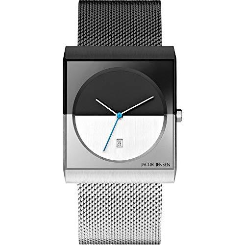 Jacob Jensen Herren Analog Quarz Uhr mit Edelstahl Armband JJ515