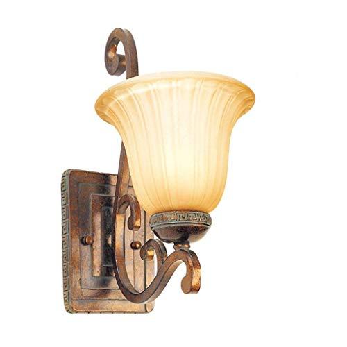 Hai Ying * E27 bedlampje met lampenkap van melkglas geel wandlamp van ijzer zwart 28,5 x 14 cm