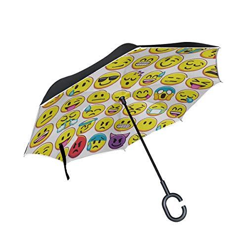 Conjunto de Paraguas a Prueba de Viento invertido de Doble Capa invertido Diferentes Emojis aislados en el Paraguas inverso Paraguas Grande A Prueba de Viento Plegable Protección a Prueba de Viento a