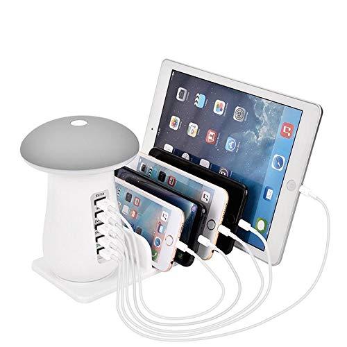 Teepao Lampada da Tavolo a LED Fungo Ricaricabile LED Touch Staffa per Stazione di Ricarica USB Caricatore Universale a 5 Porte per Smartphone e Tablet