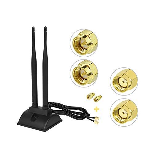 Bigzzia WiFi Antenne Dualband 2.4Ghz 5.8Ghz RP-SMA Stecker für Pice PCI-E Wireless Hotspot mit 2 SMA zu RP-SMA Adaptern