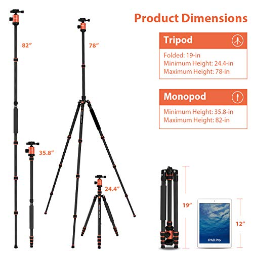 GEEKOTO 79 inches Carbon Fiber Camera Tripod Monopod with 360 Degree Ball Head 1/4...