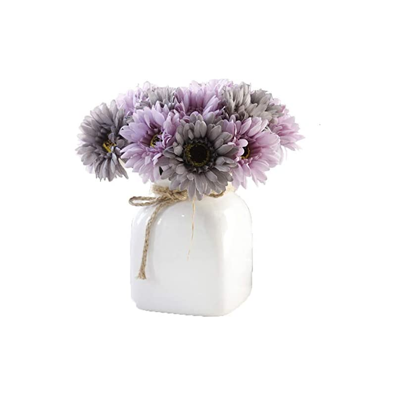 silk flower arrangements lnhomy daisy artificial flowers 14 stems silk daisies flower for wedding bouquet living room office party diy home decoration, (purple grey)