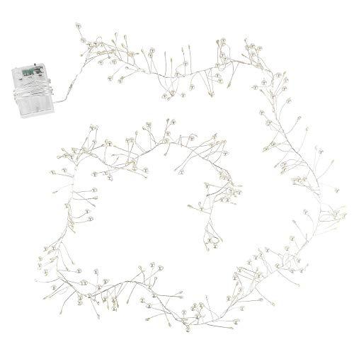 LED-Lichterkette | batteriebetrieben | mit weißen Perlen-Bündeln | 150 LED-Lämpchen in Warmweiß | Zimmer-Deko für Innen | mit Timer (6 Stunden AN | 18 Stunden AUS)