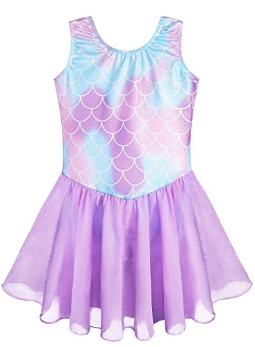 Purple Leotards Dress for Girls Mermaid 4t 5t Ballet Tutu Dance Skirted Gymnastics Leotards (Mermaid Purple, 120(4-5 years old))