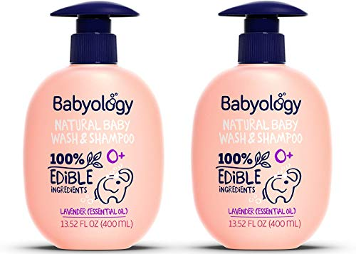 Babyology All Natural Baby Wash and Shampoo - 100% Edible Ingredients - with Organic Lavender Essential Oil (Fragrance Free) – 13,52 FL OZ - Good for Sensitive Skin - Non Toxic - Tear Free (Pack of 2)