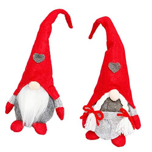 TOYANDONA 2 Unids Pareja Hecha a Mano Navidad Gnomo Sueco Muñeca Felpa Gnomo Sueco Decoración Navideña Escandinavo Tomte Nordic Elf Juguete Adorno de Navidad