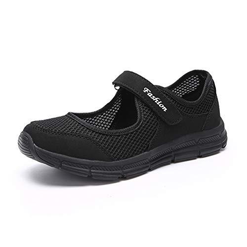[Tisomen] レディース 安全靴 ナースシューズ お年寄りシューズ ママシューズ 婦人靴 通気性 柔軟性 メッシュ ベルクロ滑り止め 中高齢者靴 介護 シューズ 普段履き ブラック 黒37
