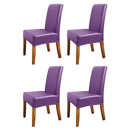 Coprisedia elasticizzato, lavabile, per sedie corte da pranzo, 4 pezzi
