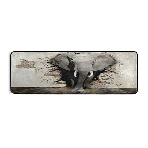 Lerous Runner Alfombra de diseño de elefante moderna antideslizante para puerta de pasillo, pasillo, alfombra de cocina estrecha alfombra para dormitorio, sala de estar