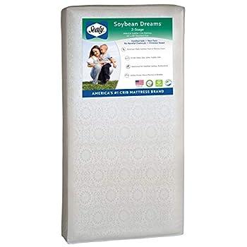 "Sealy Soybean Dreams Antibacterial 2-Stage Dual Firmness Waterproof Standard Toddler & Baby Crib Mattress Lightweight Soybean Memory Foam 52"" x 27.5"""