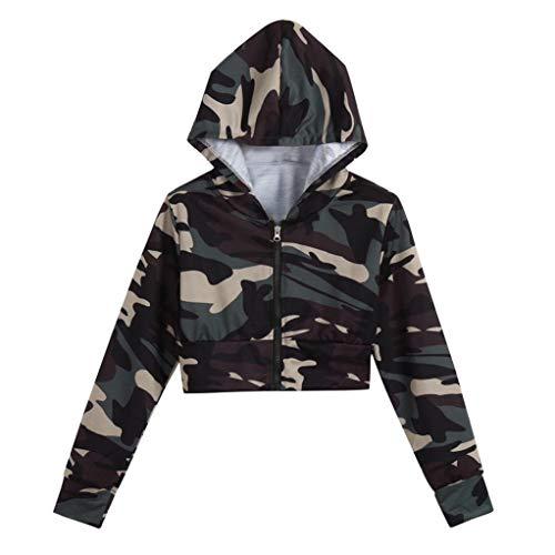iHENGH Sweatshirt, Damen Fashion Camouflage Print Shirt Lange Ärmel Bluse Kapuzen kurzen Pullover