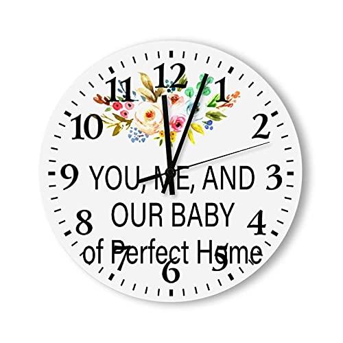 Reloj Reloj de Pared Redondo Reloj Colgante, para la Sala de Estar, la Cocina, el Dormitorio y el Patio, tú, yo y Nuestro bebé Home Reloj de Pared con patrón de Flores Coloridas