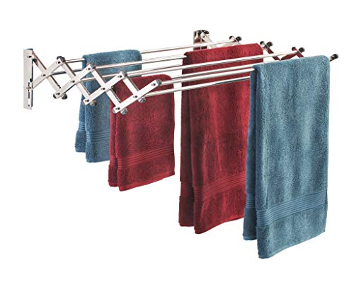 Smartsome Space Saver Fold Away Racks: Stainless Steel Wall Mounted Laundry Drying Rack, Easy To Install High-Quality Design - 8 34  Rods, Total: 22.5 Linear Ft, 60 lb Capacity- Indoor and Outdoor Use
