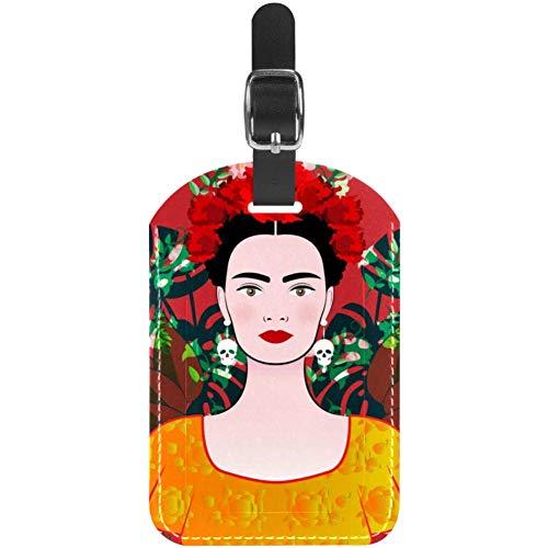 Etiquetas de equipaje para mujeres jóvenes con calaveras, pendientes de cuero, para maleta de viaje, 1 paquete