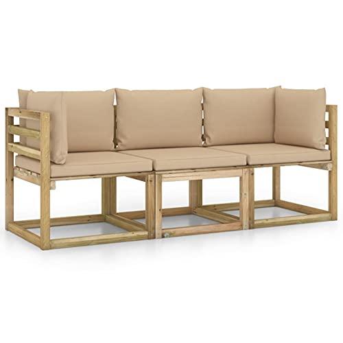 Susany Sofá de Palets de Jardín 3 Plazas con Cojines Set de Muebles de Jardín Sofá de Terraza Mueble Exterior Madera Maciza de Pino Beige