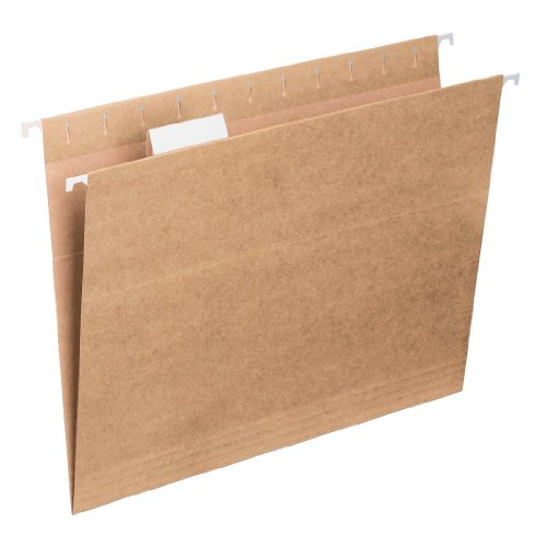 Smead 100% Recycled Hanging File Folder with Tab, 1/5- Cut Adjustable Tab, Letter Size, Tan, 25 per Box (65000)