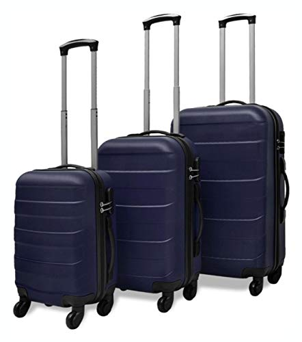 Lowest Price! HomyDelight Suitcase, 3 Piece Hardcase Trolley Set Blue