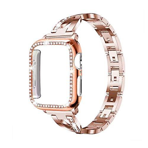 La moda Compatible con 44mm pulseras de reloj de manzana 38mm 40mm 42mm, cristal diamante de la correa de reemplazo compatible for iWatch Serie 5/4/3/2/1 elegante ( Color : Rose gold , Size : 40mm )
