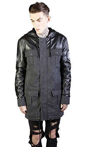 Disturbia Mannen Canvas Parka mantel - We Own The Night winterjas met kunstlederen mouwen zwart/donkergrijs