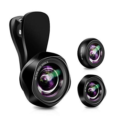 Lenti per Cellulare, Universale 3 in1 HD Obiettivo Smartphone con Lente Grandangolare a 145 °, Lente Macro 15X, Lente Fisheye per iPhone Samsung Huawei HTC ECC (Upgrade in 2021)