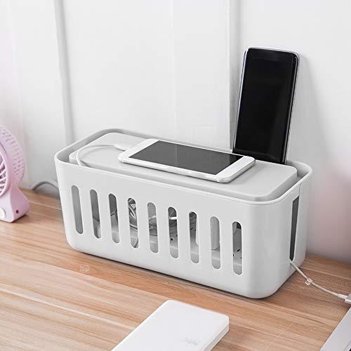 Leftwei Staubdichte Kabel-Organizer-Box, 30 x 13,5 x 13,5 cm, grau, modische Steckdose, zum Sammeln von Kabel nach Hause, Kabel Schlafzimmer(Gray)