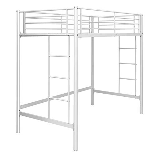 Safstar Metal Twin Loft Beds for Kids Multifunctional Twin Size Loft Bunk Bed with Ladder Bedroom Furniture Great Space Savers (Loft Bed)