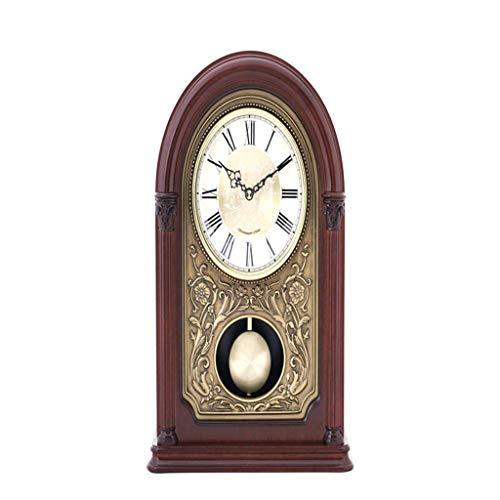 LYLSXY Alarm Clocks,New Home Desk Table Living Room Decor Bedroom Vintage Desk Battery Operated Non Ticking European Retro Numeral Pendulum Decorative