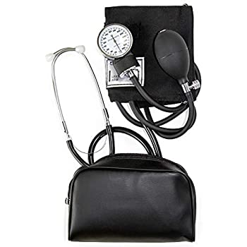 HealthSmart Manual Home Blood Pressure Monitor Kit with Large Adult Cuff and Stethoscope Cuff Size  13 to 17 inches Black