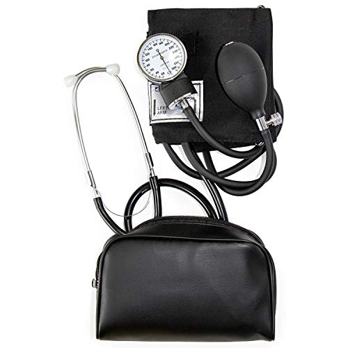 HealthSmart Manual Blood Pressure Monitor for Adult Upper Arm, Standard Cuff Size 10-14 inches with Attached Stethoscope, Black (04-174-021) -  01-140-016