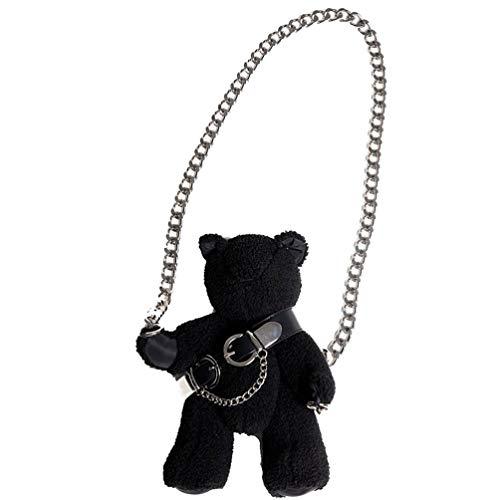 VALICLUD Umhängetasche mit Kettenriemen Stofftier Geldbörse Teddybär Geldbörse Gothic Geldbörsen Und Handtaschen für Frauen Mädchen Schwarz