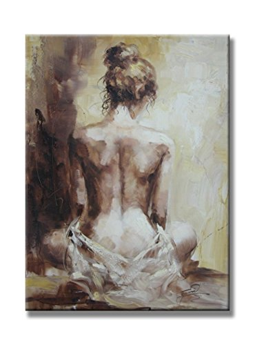 Damenight 100% Hand Painted Oil Painting on Canvas Sexy Nude Girl Naked Lady Back Figurative Hand Painted Oil Painting with Stretched Frame 1-Pieces Set Wall Art for Home Decor,30x40inch