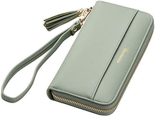 Travelambo Womens Wallet Tassel Bifold Ladies Cluth Wristlet Wrist strap Long Purse (Access Green Blooming)