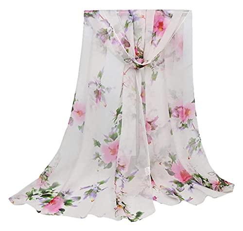 Lzpzz Bufandas para mujer, moda para mujer, impresión de loto, larga y suave, bufanda para chal, estolas para mujer y mujer (color: blanco)