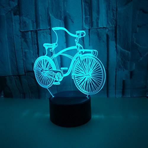 Kindernachtlicht, 3D Kreatives Fahrrad Pattern LED 7 Farben USB Schlummerlicht,Nachttischlampe,für Verwendet in Kinderzimmer, Schlafzimmer, Geburtstagsgeschenk, Wohnzimmerdekoration