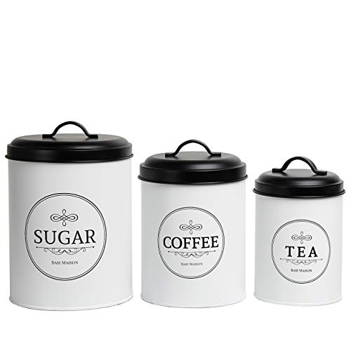Baie Maison Large Kitchen Canisters - Set of 3 Farmhouse Canister Sets for Kitchen Counter White - Coffee Tea Sugar Container Set - Rustic Kitchen Canisters Farmhouse Style Decor - Metal Kitchen Jars