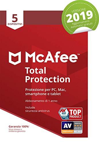 McAfee Total Protection 2019 | 5 Dispositivi | Abbonamento di 1 anno | PC/Mac/Smartphone/Tablet | Codice di attivazione via mail